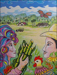 Guajiros con Canas y Gallo by Isidoro  Tejeda