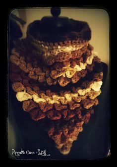 Crocodile stitch scarf - neckwarmer autumn colour - crochet