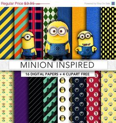 SALE 30% OFF Minion digital paper,Minion clipart,Minion paper,scrapbook,background,texture,printable party MN002
