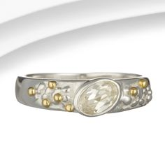 Organic Silver, Zirconia & Brass Band Ring