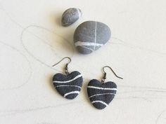 Gray heart earrings Sea stone earrings Pebble sea by Sognoametista