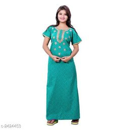 Checkout this latest Nightdress Product Name: *Comfy Designer Women's Cotton Nightdress* Fabric: Cotton Sleeves: Short Sleeves Are Included Size:  Up To 36 in To 44 in (Free Size) Length: Up To 50 in  Type: Stitched Description: It Has 1 Piece Of  Women's Nightdress Work: Printed Country of Origin: India Easy Returns Available In Case Of Any Issue   Catalog Rating: ★4 (2872)  Catalog Name: RnP Trendy Designer Women's Cotton Nightdress Vol 1 CatalogID_324870 C76-SC1044 Code: 573-2424453-4311