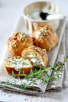 Gougères - French County Cheese Puffs With Fresh Herbs _ A Gougère, in French cuisine, is a baked savory choux pastry made of choux dough mixed with cheese. I Love Food, Good Food, Yummy Food, Yummy Yummy, Gougeres Recipe, Fingers Food, Cheese Puffs, Cheese Pastry, Food Inspiration