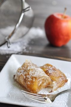 """Give this delicious """"Spring Roll Wrapper Apple Turnover"""" recipe w/ fresh apples, cinnamon, butter, & spring roll wrappers a try."""