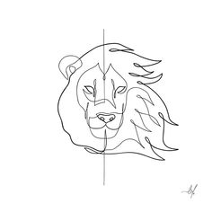 Line Drawing Tattoos, One Line Tattoo, Tattoo Sketches, Tattoo Drawings, Art Drawings, Simple Lion Tattoo, Simple Lion Drawing, Design Dragon, Snake Drawing