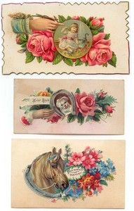 VICTORIAN HIDDEN NAME CALLING CARDS, Girl with Cat, Dog, Horse.......A young lady could hand her card to the chap she most wanted to accompany her.   •A visitor folded down the upper right hand corner if she came in person.   •A folded upper left corner indicated she stopped to leave her congratulations.   •A folded lower right corner said goodbye.   •A folded lower left corner offered condolences.