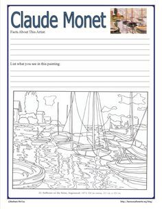 Intimate Impressionism - Claude Monet | Harmony Fine ArtsHarmony Fine Arts (I should really make coloring page LESSONS)