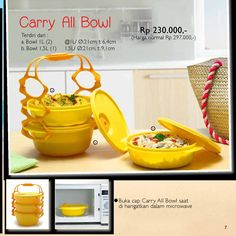 Carry All Bowl  – Carry All Bowl praktis dibawa dan dapat langsung dihangatkan dala microwave sekaligus untuk disajikan. – Cantik untuk penyajian – Nyaman untuk dibawa  Buka Cap Carry All Bowl Saat di hangatkan dalam microwave