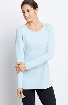 Pure Jill long-sleeve stretch cotton tee