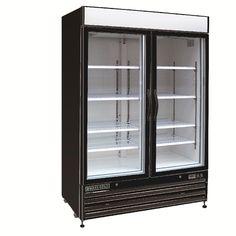 Maxx Cold MXM2-48RBX Two 2 Glass Door Upright Merchandiser Refrigerator Cooler in BLACK - 48cf - REFURBISHED