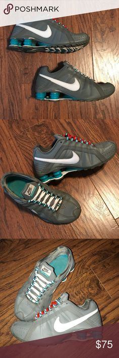 Nike Shox Junior Gray Teal White Women Sz 6 Shoes Nike Shox Junior Women's Athletic Running Shoe Size 6 - Gray - Teal - White  Gray Solid Smooth Leather-look Synthetic Material - White Swoosh - Teal Shox & Accents  Great Used Condition: minor wear rear shox, insole, & sole. Slight crease @ foot bend.  Original laces gray (see last pic) plastic replaced. *only reconditioned gray laces included, unless requested: -either- White -or- Orange laces.  Feminine Shape + Fashionable Sporty look…