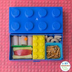 Super easy bento lunch in a Lego lunchbox!