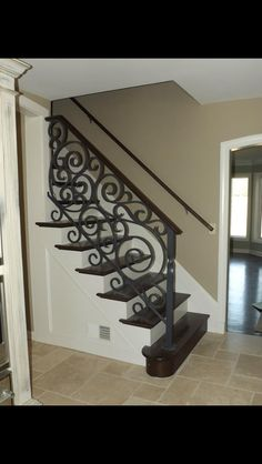 A good example of a painted face a with darker stairs. Wrought iron railing Source by Wrought Iron Stair Railing, Wrought Iron Beds, Wrought Iron Decor, Iron Balusters, Wrought Iron Fences, Railings, Balcony Railing Design, Staircase Design, Stair Decor