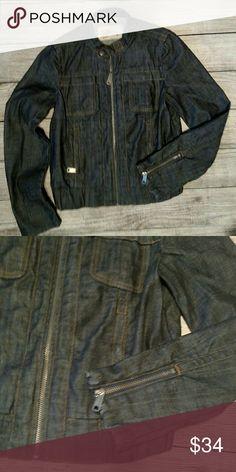 "New Gap 1969 moto jean jacket. Size small Super cute dark wash Jean jacket. Small Length 22"" Armpit to armpit 17"" GAP Jackets & Coats Jean Jackets"