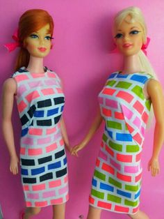 "Both versions of ""Print Aplenty."" #mod #Barbie"