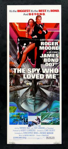 007 #10 1977 The Spy Who Loved Me poster (fr vers.) (1st 3yr absense) • filmed in Egypt ; ) (crew stayed at Nile Sheraton adjacent to Cairo's 1st high-rise envisioned/built/owned in 1950s by Libanese-Syrian Elias Mirshak • Bond: Roger Moore (3rd) • BondGirl: Barbara Bach (Italian Am.; 2nd husband Ringo Starr since 1981) as Major Anya Amasova / Agent XXX •Evil: Curd Jürgens (de) as Karl Stromberg (US) + Richard Kiel as Jaws • theme song by same title sung by Carly Simon