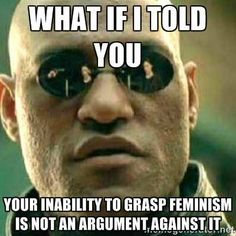 Morpheus: What if I told you your inability to grasp feminism is not an argument against it.