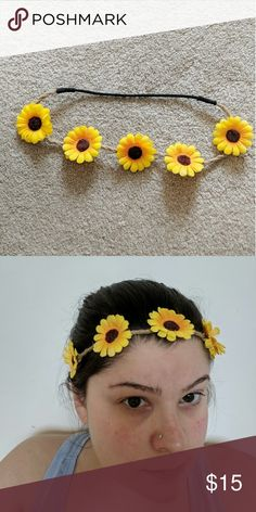 SB Yellow sunflower boho hippie headband Easy headband to brighten up any spring outfit! Bundle with other hair accessories for a discount. Accessories Hair Accessories