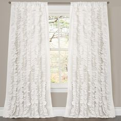 Awesome Lush Decor Belle White 84 Inch Curtain Panel (Belle White), Size 54 X 84  (Polyester, Novelty)