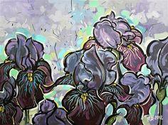 """Purple Irises in the shade"" - Original Fine Art for Sale - © Roger Akesson"