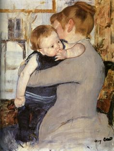 Mother and Child - Mary Cassatt, 1889  Although Cassatt never married and had no children, she is arguably most well known for her depictions of women and children, which she began to paint in the mid to late 1880s. Cassatt rarely represented actual mothers and their children; instead, she worked from models. Cassatt did not want to paint what was already there - she wanted to represent certain things, and her paintings are strongly naturalistic and symbolic in that sense.  They're also very