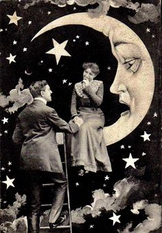 its only a paper moon, hanging over a cardboard board sea, but it wouldnt be make believe if you believed in me. Paper Moon, Vintage Paper, Vintage Art, Retro, Moon Photos, Moon Pictures, Sun Moon Stars, Parcs, Moon Art