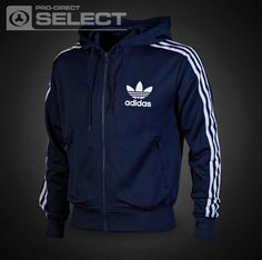 adidas Originals - adi Hooded Flock - Track Top - adidas Clothing - Indigo / White