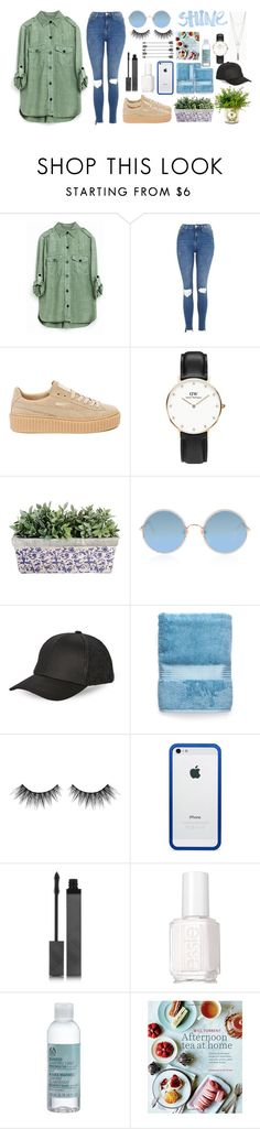 """""""Untitled #1642"""" by fashionstring on Polyvore featuring Topshop, Puma, Daniel Wellington, Sunday Somewhere, BCBGeneration, Huda Beauty, BlissfulCASE, Burberry, Essie and The Body Shop"""