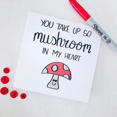 You take up so mushroom in my heart mushroom lover mushrooms shrooms funny card punny pun joke valentines boyfriend girlfriend partner love card etsy Cute Puns, Funny Puns, Birthday Gifts For Girlfriend, Boyfriend Birthday Cards, Girlfriend Presents, Birthday Presents, Boyfriend Birthday Ideas Creative, Diy Birthday Cards, Handmade Gifts For Girlfriend