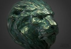 Lion Bronze Head, sculpted in ZBrush, rendered in KeyShot by Nacho Riesco.