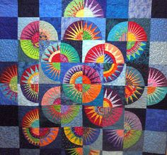 """Wonkyworld: """"Crown of Thorns"""" - a Judy Niemeyer Design Circle Quilts, Star Quilts, Mini Quilts, New York Beauty, Amazon Beauty Products, Crown Of Thorns, Colorful Quilts, Foundation Piecing, Quilting Designs"""