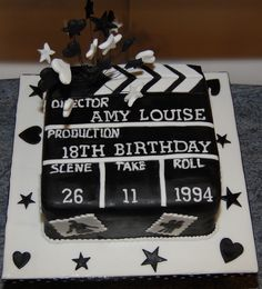 Mckelle birthday cake clapperboard and movie theme