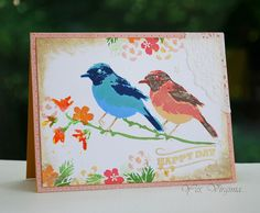 """Bird and Branch"" from Hero Arts. Color-Layering stamps- Happy Day card."