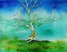 """Landscape Painting Watercolor. Title: """" Twilight Tree """" by Brenda Owen"""