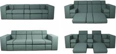 This modular convertible sofa from Dutch designers Zuiver is a fun departure from the usual bed-or-sofa binary design. It allows each individual segment to be moved up or down as desired, creating entirely new pieces of furniture every time. When entirely unfolded, the sofa could easily be used as a comfy temporary bed.