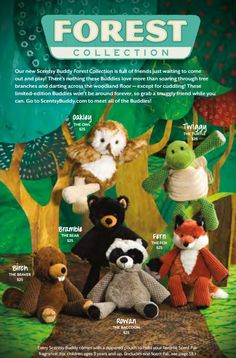 forest buddy scented stuffed animals #scentsy $25 each includes your choice of Scent Pak Http://laurennorris.scentsy.us