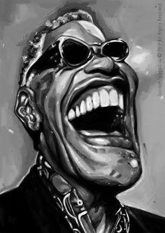 """""""Narodil jsem se a hudba byla mou součástí. Stejně jako žebra, játra, ledviny, srdce. Jako krev."""" Ray Charles -karikatúra, digitálna kresba A3"""