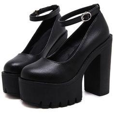 APRIL FLASH SALE-TUMBLR SOFT GRUNGE HIGH HEEL Platform (€54) ❤ liked on Polyvore featuring shoes, pumps, heels, high heeled footwear, heel platform shoes, high heel shoes, grunge shoes and genuine leather shoes