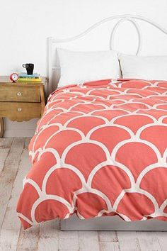 Stamped Scallop Duvet Cover-comes in coral and teal!
