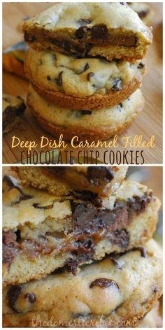 Deep Dish Caramel-Filled Chocolate Chip Cookies will be your new favorite! Gooey, sweet, and with a surprise caramel center. What's not to love!? #caramel #cookies #chocolatechip