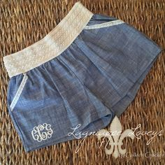 Crochet chambray embroidered monogrammed boutique shorts by Lagniappe Loveys on Facebook http://www.facebook.com/lagniappeloveys