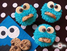 Adorable cupcakes add fun flair to any party for kids. Anyone can create these easy cupcakes! Even the kids can help! Browse through this creative collection to find cute cupcake Cupcakes Fondant, Cute Cupcakes, Amazing Cupcakes, Delicious Cupcakes, Party Cupcakes, Cupcake Frosting, Themed Cupcakes, Buttercream Frosting, Cookie Monster Cupcakes