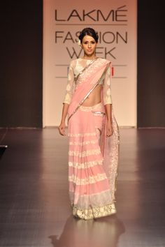 pastel pink and cream sari | Manish Malhotra Lakme Fashion Week Spring 2013
