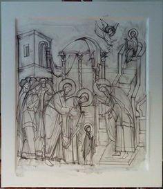 Введение Богородицы во храм Christmas Stage, Art Icon, Orthodox Icons, Painting Process, Byzantine, Fresco, Icon Design, Outline, Style Icons