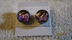 SMALL PURPLE TIGER STRIPED DICHROIC GLASS POST STUD EARRINGS FREE SHIP   Imaginative_Creations - Jewelry on ArtFire