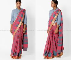 Indo Western Saree with Shirt Blouse