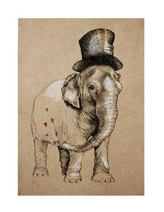 Elephant in love, Original illustration, animal art. $9.00, via Etsy.
