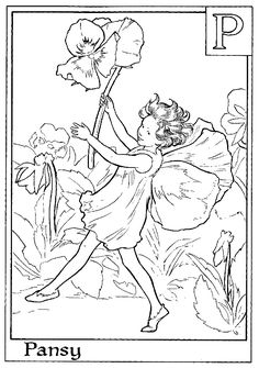 Print Letter P For Pansy Flower Fairy Coloring Page or Download http://azcoloring.com/coloring-page/589483?album=flower-fairy-coloring-pages
