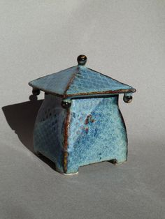 Lidded Textured Ceramic Box with Blue and by ClayStudioDesigns Ceramic Boxes, Clay Studio, Decorative Boxes, Container, Pottery, Ceramics, Unique Jewelry, Handmade Gifts, Artwork