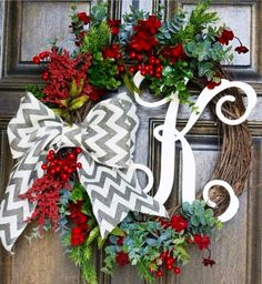 Monogrammed Chevron Christmas Holiday Wreath on Etsy, $50.00